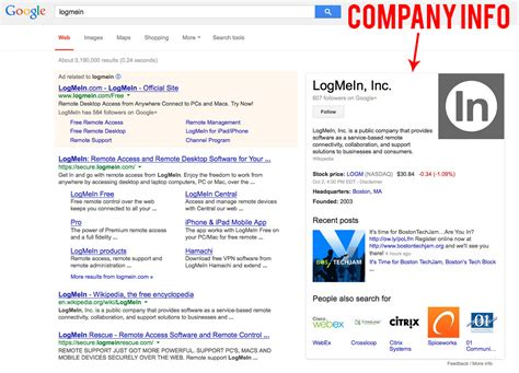 search for sections google search page result company info section stack