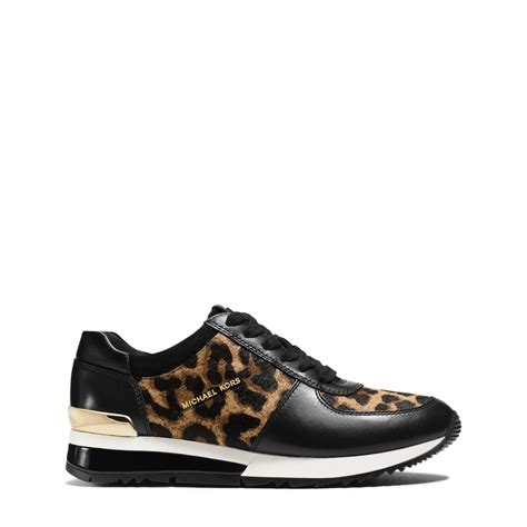 michael sneakers for lyst michael kors leopard calf hair and leather