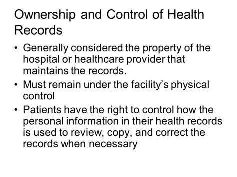 The Physical Health Record Is Usually Considered The Property Of Documentation In Acute Care Ppt