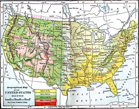 elevation map united states orographical map of the united states