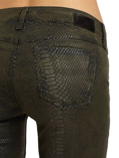 sold design lab denim sold design lab soho crocodile print skinny leg denim