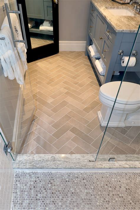 superb Penny Tile Bathroom Floor #3: the-tilery-penny-roundsandherringbonebath.jpg
