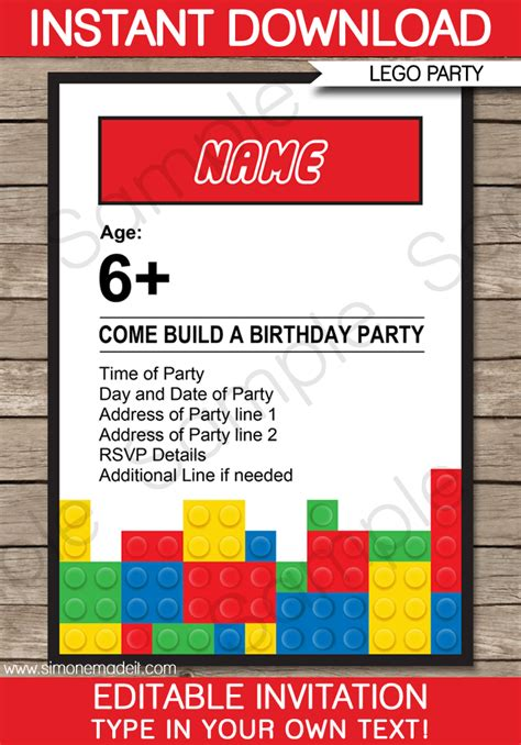 lego birthday card template lego invitations lego invitations birthday