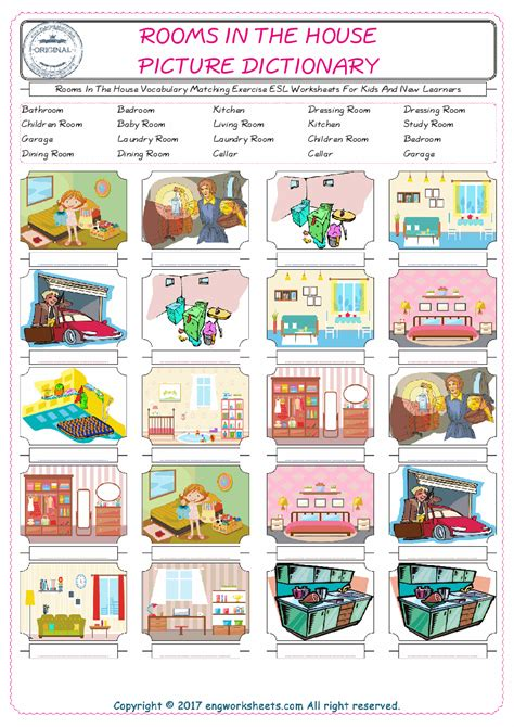kids in the house rooms in the house vocabulary matching exercise esl worksheets for kids and new learners