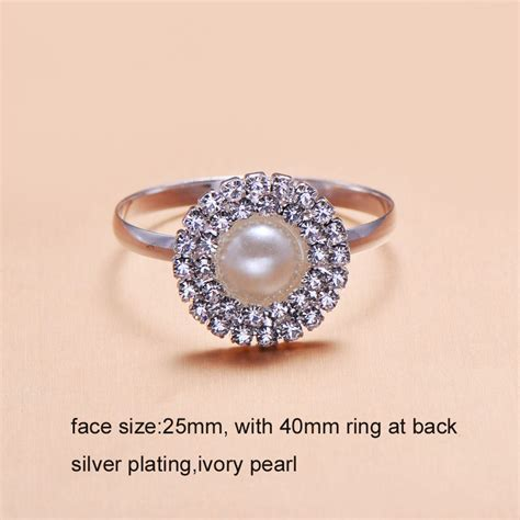 Rhinestone Ring luxury rhinestone napkin ring with pearl in polished