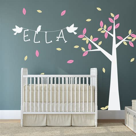 Nursery Tree With Name And Birds Wall Stickers By Wallboss Nursery Wall Decals Uk