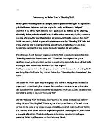 Mending Wall Theme Essay by Mending Wall Analysis