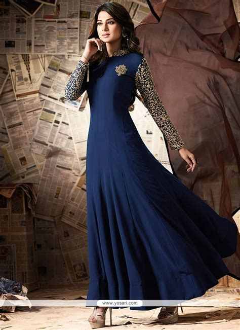 navy blue floor buy jennifer winget navy blue floor length anarkali suit