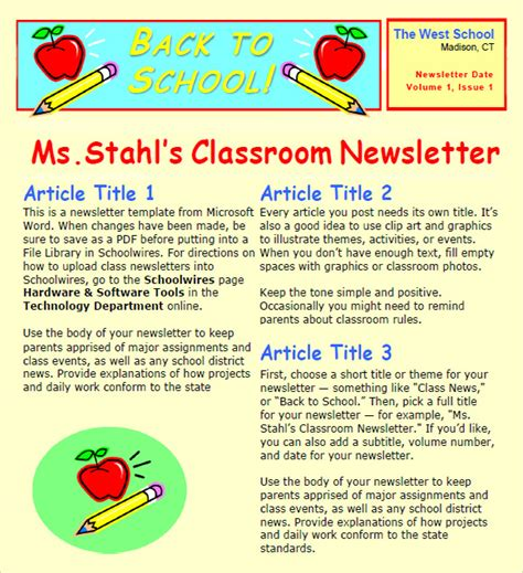 6 Sle Classroom Newsletters Sle Templates School Newsletter Templates