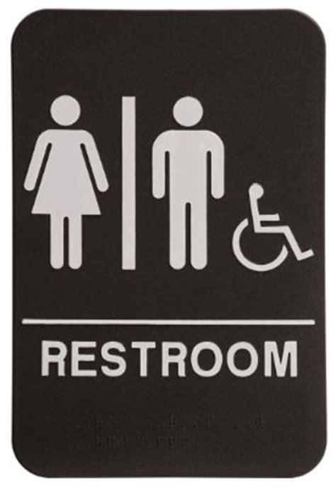 uni bathroom signs amazon com unisex restroom sign black white ada compliant