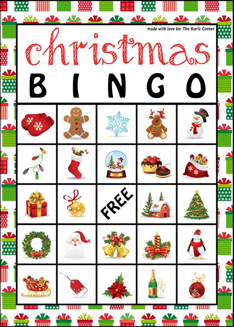 printable card bingo the kurtz corner free printable christmas bingo cards