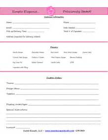 bakery order form template cake order form templates free cupcakes