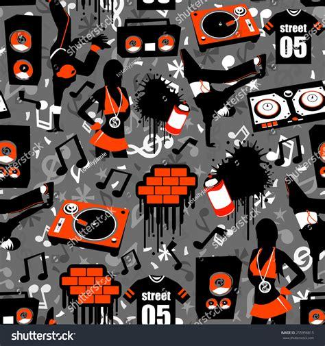 hip hop beatbox pattern hip hop street seamless pattern background stock vector
