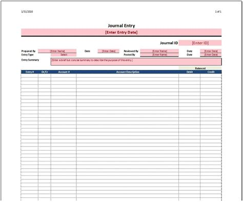 Journal Entry Template journal entry template spreadsheetshoppe
