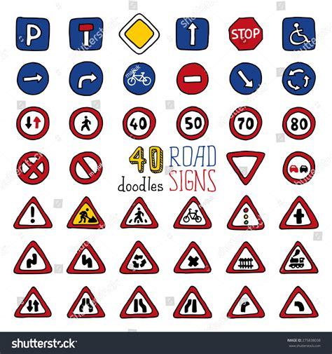 doodle crossing sign vector set doodles road signs handdrawn stock vector