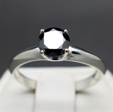Scuderia Black Midel Grade Aaa 0 89cts black engagement ring 6 47mm aaa grade certified graded and apprasied