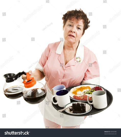 Tries To Up A Waitress tired overworked waitress trying to carry many things