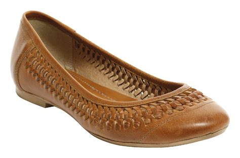 womens flat brown shoes womens office manor weave brown leather slip on flat
