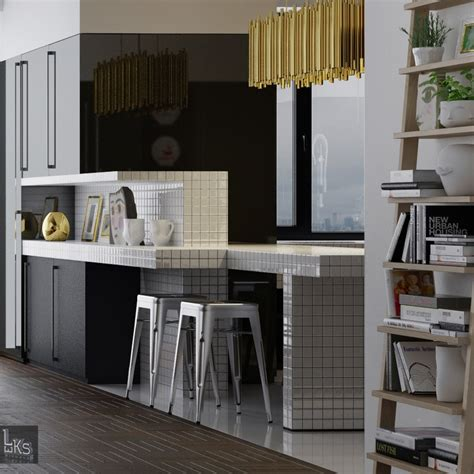 stainless steel home decor leks architects kiev apartment black lacquered kitchen