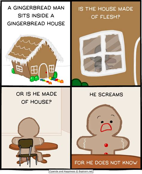 a gingerbread sits inside a gingerbread houseor is he