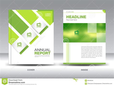 Green Annual Report Layout Template Brochure Flyer Green Cover Design Stock Vector Annual Report Design Templates