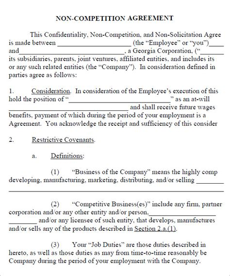 non compete agreement template pdf non compete agreement 7 free pdf doc
