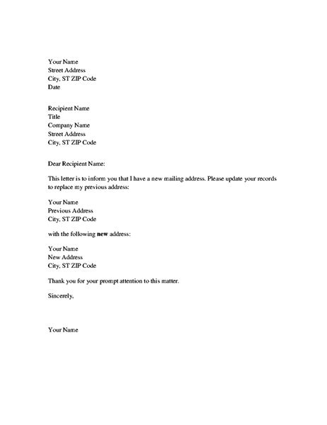 business letter format for address change address change notification letter office templates