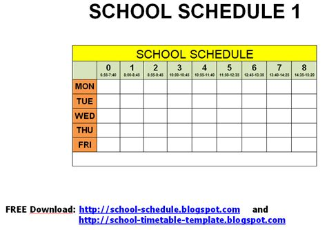 schedule for school template schedule for school printable template september 2012