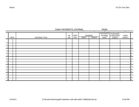 disbursement journal template disbursement journal template