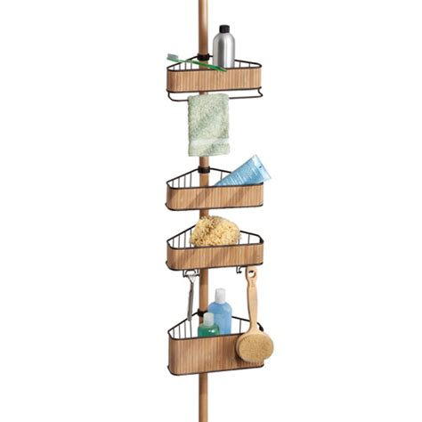 bathroom tension pole caddy tension pole shower caddy bamboo in shower caddies