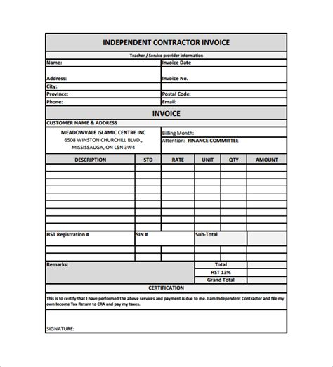 Contractor Invoice Template Pdf Hardhost Info Independent Contractor Billing Invoice Template