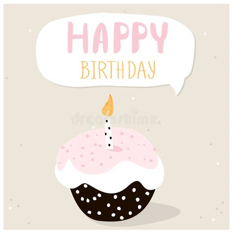 template birthday card illustrator cute cupcake with happy birthday wish greeting card