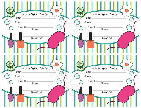 Free Spa Party Invitation Template Free Printable Spa Invitations Templates