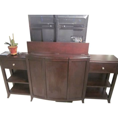 Footboard Tv Lift Cabinet by Espresso King Bed With Tv Lift