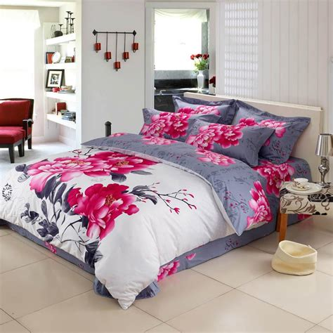 White Red And Grey Peony Flower Print Chinese Inspired Flower Bed Set