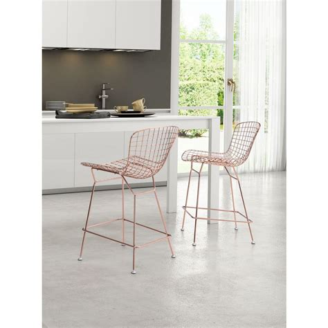 zuo modern wire bar stool zuo 24 in gold bar stool set of 2 100363 the