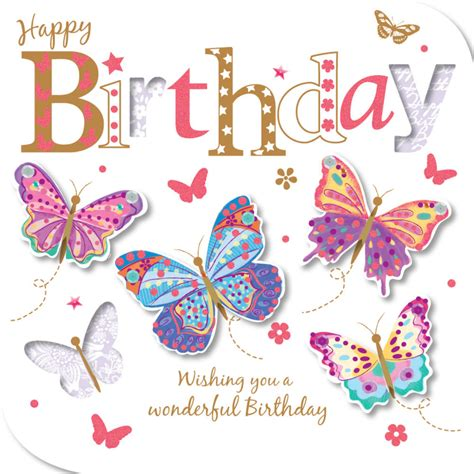 Happy Birthday Wishes Butterfly Handmade Butterflies Happy Birthday Greeting Card Cards
