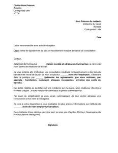 Exemple Lettre De Demission Suite Harcelement Moral modele lettre de demission harcelement moral document