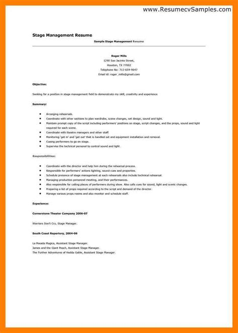 Stage Manager Description by Stage Manager Resume Template Resume Ideas