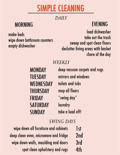 cleaning schedule clean and organized