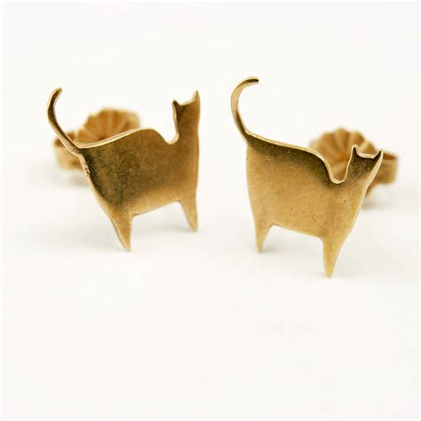 gold cat earrings by frillybylily