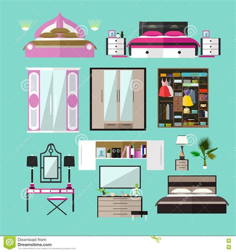 Home Design Elements Reviews - bedroom interior objects in flat style vector