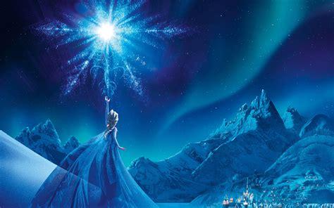 wallpaper frozen elsa night snowflake  uhd