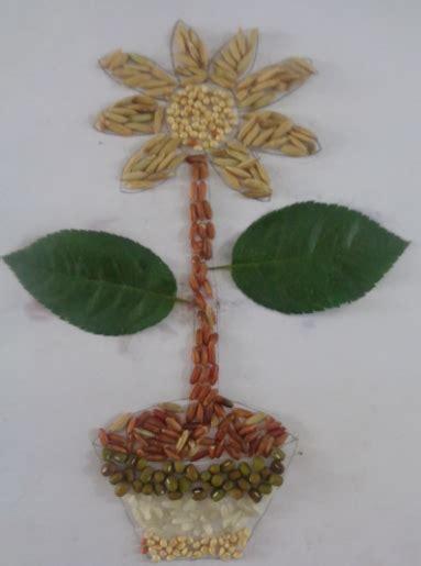 Biji Bunga Pucuk Merah berbagai contoh gambar kolase dari bahan biji bijian