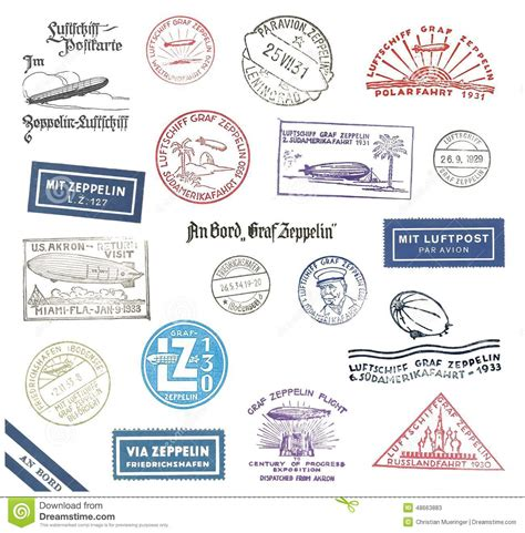 printable airmail stickers zeppelin postmarks from germany stock illustration image