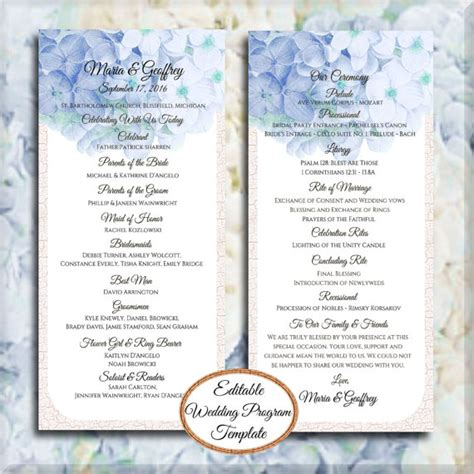 free printable church program template hydrangea blue hydrangea tea length wedding program editable template