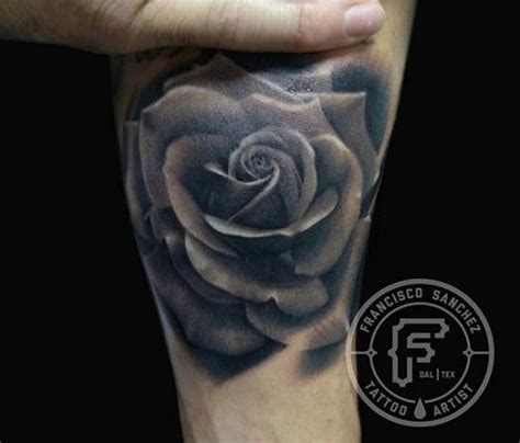 frank sanchez tattoos black and gray rose tattoo