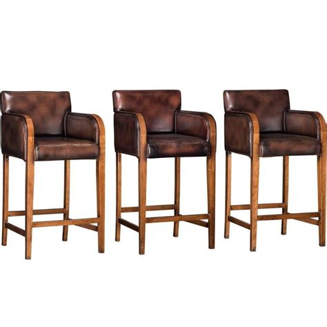 Wood And Leather Bar Stools Leather Wood Bar Stools At 1stdibs