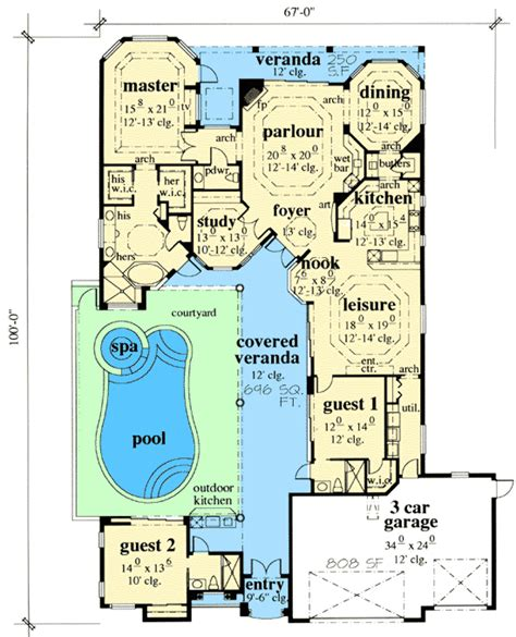 courtyard plans courtyard house plans with pool plan w33532eb mediterranean florida house plans home