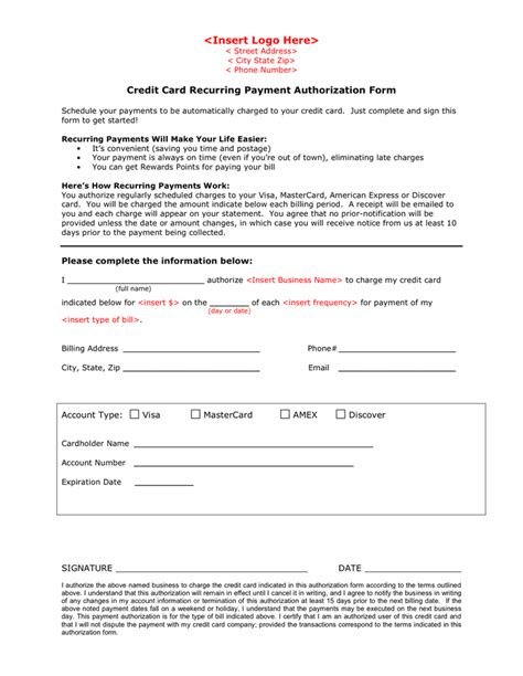 credit card recurring payment authorization form template credit card recurring payment authorization form in word